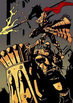 Ornstein matadragones y Smaug el ejecutor Sif Dark Souls, Arte Dark Souls, High Fantasy, Fantasy Art, Soul Saga, Wave Illustration, Dark Blood, Darkest Dungeon, Fan Art