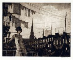 Martin Lewis (Australian, 1881-1962)  Glow of the City  1929   Drypoint,