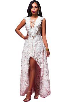 White Lace High Low Maxi Dress LAVELIQ SALE                                                                                                                                                                                 Plus