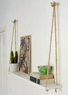 DIY rope shelf #easy #decor #DIY #prateleira