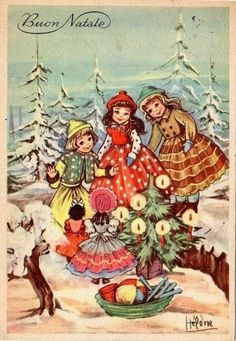 Winter Christmas, Christmas Crafts, Christmas Tree, Vintage Christmas Cards, Vintage Cards, Hallmark Cards, Collage, Victorian, Painting