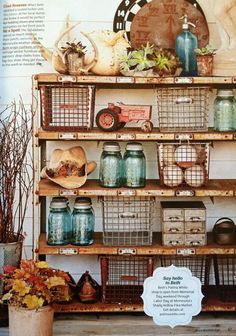 Flea Market Style Bookshelf + Built-In Shelf Styling using vintage school gym baskets and mason jars - craft room office studio art work space