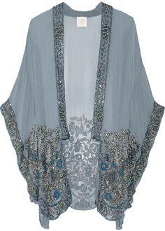 Anna Sui Embellished silk-chiffon kimono jacket