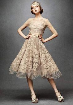 Winsome Organza 3/4 Sleeves Flat Tea Length Applique Dress - Wedding Dresses