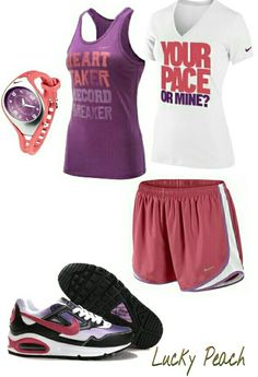 Women's fashion red purple nike outfit