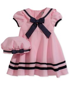 Rare Editions Baby Girls' Pink Short-Sleeve Sailor Dress & Hat