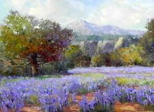 """Art Print Texas Bluebonnets Oil Painting Picture Printed on canvas 12""""x16"""" L158"""