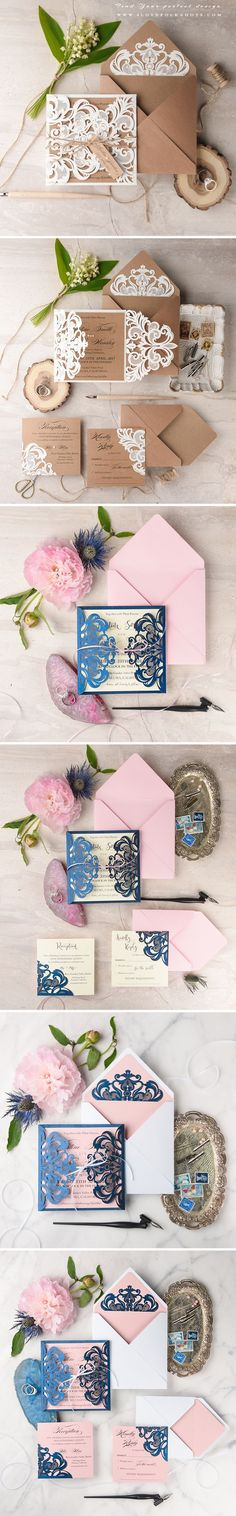 Wedding Invitations with Laser Cut Lace #weddinginvitations #summerweddingideas