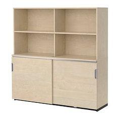 """GALANT storage combination w sliding doors, birch veneer Width: 63 """" Depth: 17 3/4 """" Height: 63 """" Width: 160 cm Depth: 45 cm Height: 160 cm"""