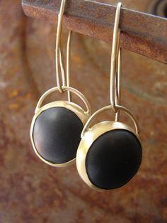 Earrings  22k Gold & Black Onyx  Earrings by AurumJewelry on Etsy, $330.00