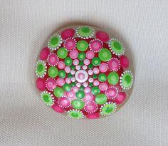 Pink Green Dot Art Mandala Painted Stone  by CreateAndCherish