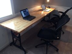 Butcher Block Desk With Singer Sewing Machine Legs
