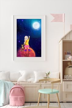 This amazingly cute Illustration of a Girl holding a Teddy in Space fits kids room or any other room :) Looks best when framed. All Illustrations were made by us, LadiesMinimal from scratch, without using any premade elements. Reaching For The Stars, Stars At Night, Exercise For Kids, Other Rooms, Cute Illustration, Art For Kids, Planets, Kids Room, Illustrations