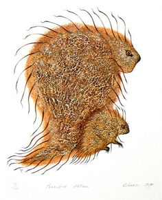 Porcupine Mother by Eddy Cobiness (Ojibwe) - Contemporary Canadian Native, Inuit & Aboriginal Art - Bearclaw Gallery Aboriginal Culture, Aboriginal Art, Native American Artists, Canadian Artists, Native Canadian, Inuit Art, Indigenous Art, Native Art, Western Art