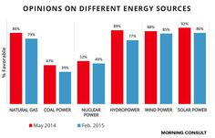 As Congress mulls a new national energy policy, Morning Consult polling finds that Americans largely favor renewable energy sources of electricity like solar and wind power over technologies like nuclear and coal power.
