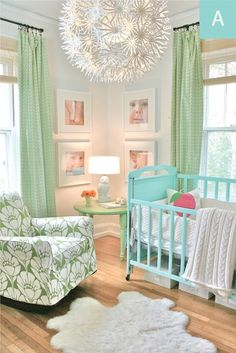 Green and Turquoise Nursery - Love the texture that the light fixture adds to the room.  The awesome pattern of the green and white rocker really adds a punch.  The gallery of close up shots of the baby who gets to live here are a sweet way to personalize the space.  Love the gentle but bright color combo.