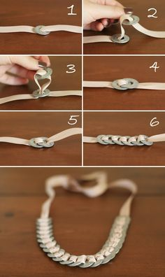 Nestled: DIY: Washer  Ribbon Necklace