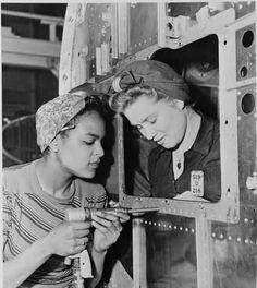 Two women in factory