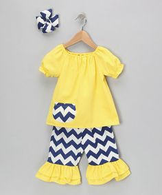 Yellow Chevron Capri Ruffle Pants Set  by Molly Pop Inc.
