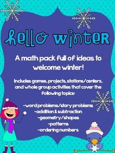 """This pack includes over 100 pages of math games, centers/stations, whole group activities, and projects to welcome winter with Common Core Aligned math skills including:-Word Problems -""""Backwards"""" Story Problems to promote higher level thinking and incorporate writing-Addition and Subtraction Facts -Number Sense: Ordering and Comparing Numbers-TONS of FUN Geometry Activities and Projects (an introduction book with vocabulary and places to draw environmental shapes, a """"At First it was a…"""