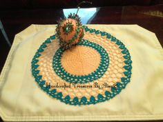 10 1/2  Peach and Teal Crocheted Doily by CraftinginStyle on Etsy