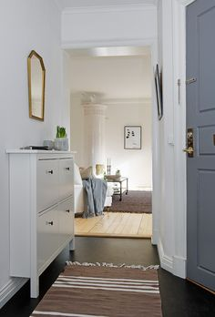 Small entry or hallway! What about giving it more personality with some molding and color?