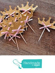 "Brand: Confetti MommaDetails: Our Confetti Momma ""Tiara Cupcake Toppers "" are perfect for adding a little sparkle to your Pink and Gold Party, Princess Party or Pink And Gold Birthday Party, Gold Party, 1st Birthday Girls, Princess Birthday, Princess Party, First Birthday Parties, Birthday Party Decorations, First Birthdays, Pink Princess"