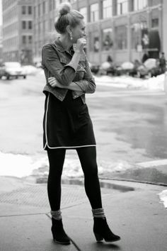 Love this tight + socks + booties look.  And it would be warm!