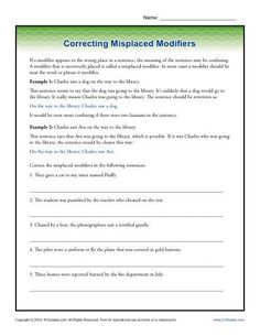 Misplaced Modifier Worksheet