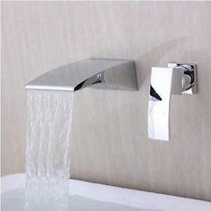 "58 pounds  (6.9"") Waterfall Curve Spout Bathroom Faucet Chrome Single Handle Wall Mount Mixer Tap | eBay"