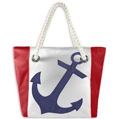 Navy Anchor Sail Tote Bag by Ella Vickers