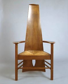 Charles Rennie Macintosh (1868-1928) - Arm Chair. Circa 1901..  Looks acutely uncomfortable; a similar chair could be made from logs and a slab.