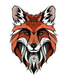 Japanese Embroidery Tiger My Wonderful Walls Fox Wall Decal Size: Medium - Arte Haida, Fuchs Tattoo, Fox Tattoo, Fox Art, Japanese Embroidery, Canvas Prints, Art Prints, Art Graphique, Art Plastique