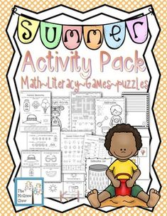 Summer Activity Pack filled with 50 pages of math, literacy, games & puzzles! $