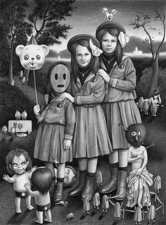 """Triplets"" - Honey Honey w/ Amandine Urruty at Hellion Gallery. http://www.helliongallery.com/current-show-2/honey-honey-amandine-urruty/"