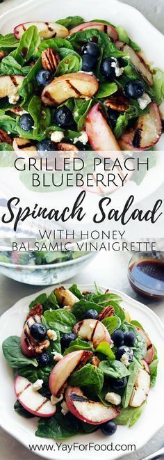 A fresh summer spinach salad featuring grilled peaches, blueberries, feta cheese, and pecans with a homemade honey balsamic vinaigrette! vegetarian | gluten-free | summer salad | grilled peaches | side dishes
