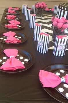 Barbie Party- Pinning just for the napkin bow idea.