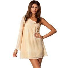 Newly Western Long Sleeve Loose Chiffon Dress Beige
