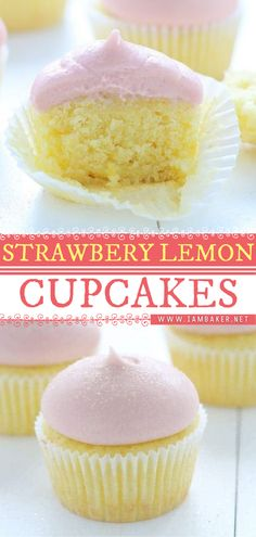 There is something magical about these Lemon Cupcakes with Strawberry Buttercream! The flavors are light and refreshing with a citrusy tang of lemon. It's the perfect spring dessert recipe! Pin this spring food idea. Amazing Cupcakes, Fun Cupcakes, Cupcake Cakes, Strawberry Lemon Cupcakes, Strawberry Buttercream, Sweet Desserts, Easy Desserts, Delicious Desserts, Easy Cake Recipes