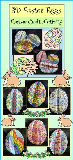 3D Easter Eggs Craft Activity Packet : This 3D Easter craft activity packet is a unique construction art project which also serves as classroom decor. This three dimensional craft can be displayed as a desktop decoration, as a table centerpiece, suspended from festive holiday garlands, or as filler for an Easter basket. #Easter #Egg #Craft #Art #Activities #Teacherspayteachers