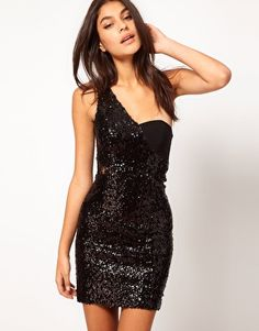 ASOS | ASOS One Shoulder Mini Dress With Sequins and Lace at ASOS