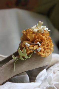 Wedding or Special Occasion Shoe Clips  Mustard toned by kgdesign, $20.50  I'd like to get these for the bridesmaids