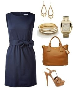Classic... navy with a nude shoe and gold accessories
