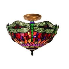 Stained glass ceiling mounted light
