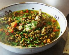 Nigella Lawson's chicken and lentils. Great comfort food.