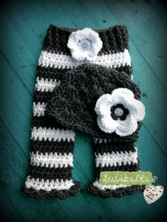 Infant Flower Beanie Photo Prop Pant Set - Handmade Crochet Baby Gift | susabelledesigns - Clothing on ArtFire