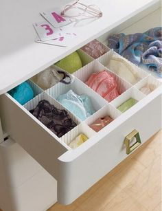 DRAWER DIVIDER, $5, CONTAINERSTORE.COM  To keep fancy intimates from becoming one big tangle (bra hooks are dangerous around delicates), invest in a drawer divider with six-inch-wide sections. Lingerie Storage, Underwear Storage, Lingerie Drawer, Wardrobe Storage, Closet Storage, Closet Organization, Organizing Drawers, Bra Storage, Drawer Storage