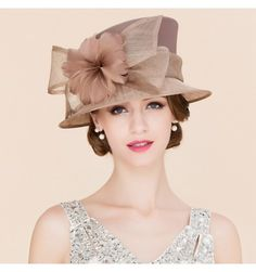 f6815d619ad07 Mesh Linen Wedding Noble Womens Formal Kentucky Derby Church Feather Dress  Hat in Clothing