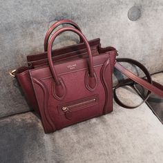 burgundy, designer, and celine Celine Nano Bag, Celine Purse, Celine Nano Luggage, Celine Handbags, Luxury Handbags, Designer Handbags, Burgundy Handbags, Best Purses, Beautiful Handbags