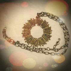 Large Lucky Brand Sun Rays Necklace This is a gorgeous Lucky Brand intentionally slightly antiqued looking large sun ray necklace in silver and gold. This has never been worn, only stored in my jewelry box for several years. It is very beautiful. No flaws. Lucky Brand Jewelry Necklaces
